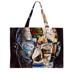 Robot Cyborg Cyberpunk Automation Zipper Large Tote Bag