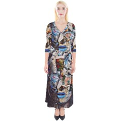 Robot Cyborg Cyberpunk Automation Quarter Sleeve Wrap Maxi Dress