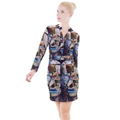 Robot Cyborg Cyberpunk Automation Button Long Sleeve Dress