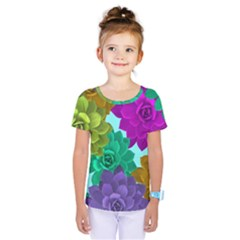 Flowers Stamping Pattern Reason Kids  One Piece Tee