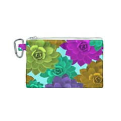 Flowers Stamping Pattern Reason Canvas Cosmetic Bag (small)