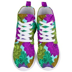 Flowers Stamping Pattern Reason Women s Lightweight High Top Sneakers
