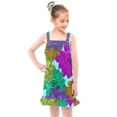 Flowers Stamping Pattern Reason Kids  Overall Dress