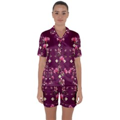 New Motif Design Textile New Design Satin Short Sleeve Pyjamas Set by Simbadda