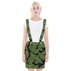 Leaves Black Background Pattern Braces Suspender Skirt