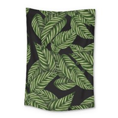 Leaves Black Background Pattern Small Tapestry