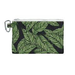 Leaves Black Background Pattern Canvas Cosmetic Bag (medium) by Simbadda