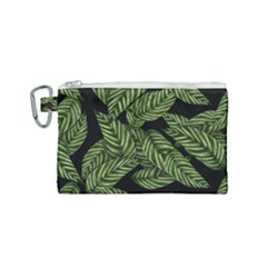 Leaves Black Background Pattern Canvas Cosmetic Bag (small)