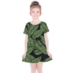 Leaves Black Background Pattern Kids  Simple Cotton Dress