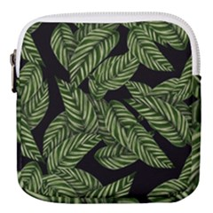 Leaves Black Background Pattern Mini Square Pouch by Simbadda