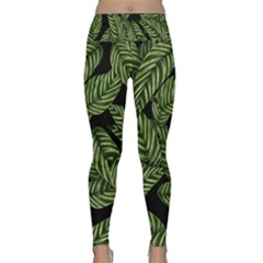 Leaves Black Background Pattern Lightweight Velour Classic Yoga Leggings by Simbadda