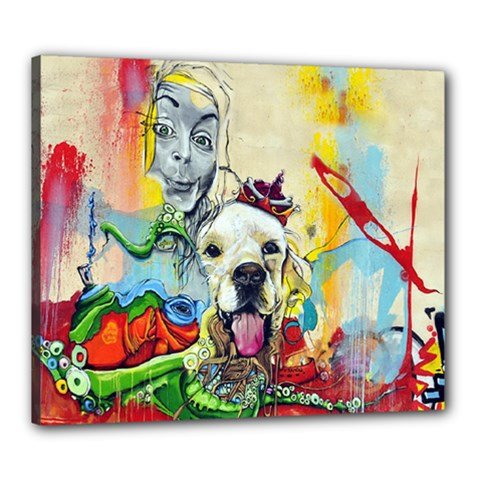 Wall Girl Dog Graphite Street Art Canvas 24  X 20  (stretched) by Simbadda