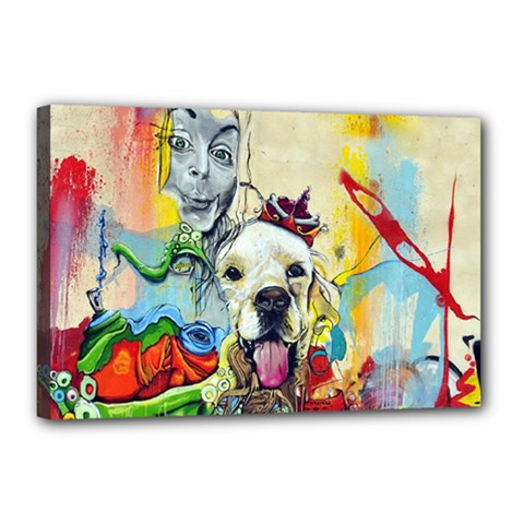 Wall Girl Dog Graphite Street Art Canvas 18  X 12  (stretched) by Simbadda