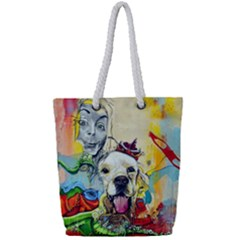 Wall Girl Dog Graphite Street Art Full Print Rope Handle Tote (small)