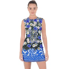 Marguerite Cornflower Vase Blossom Lace Up Front Bodycon Dress
