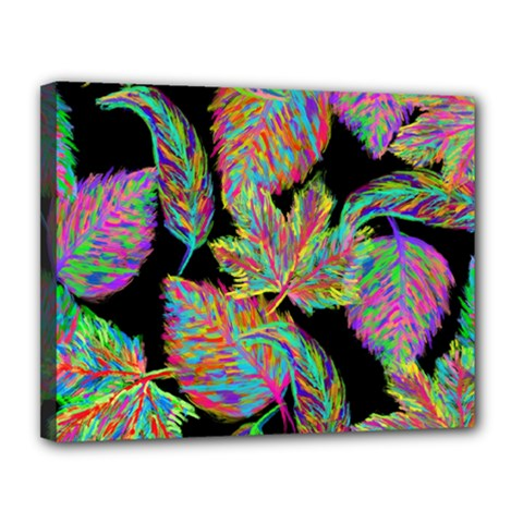 Autumn Pattern Dried Leaves Canvas 14  X 11  (stretched)