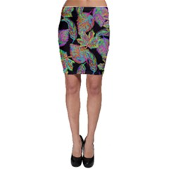 Autumn Pattern Dried Leaves Bodycon Skirt