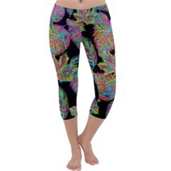 Autumn Pattern Dried Leaves Capri Yoga Leggings by Simbadda