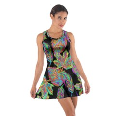 Autumn Pattern Dried Leaves Cotton Racerback Dress