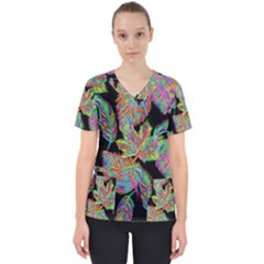 Autumn Pattern Dried Leaves Women s V Neck Scrub Top