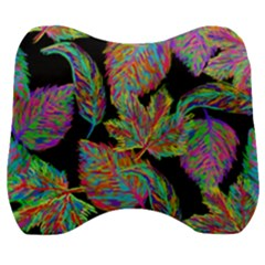 Autumn Pattern Dried Leaves Velour Head Support Cushion by Simbadda