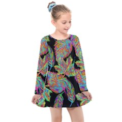 Autumn Pattern Dried Leaves Kids  Long Sleeve Dress