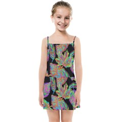 Autumn Pattern Dried Leaves Kids Summer Sun Dress
