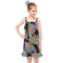 Autumn Pattern Dried Leaves Kids  Overall Dress