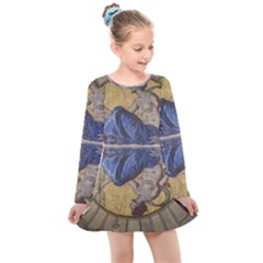 Mosaic Painting Glass Decoration Kids  Long Sleeve Dress by Simbadda