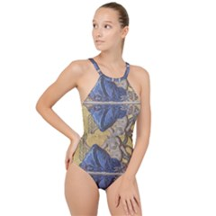 Mosaic Painting Glass Decoration High Neck One Piece Swimsuit
