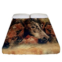 Head Horse Animal Vintage Fitted Sheet (queen Size) by Simbadda