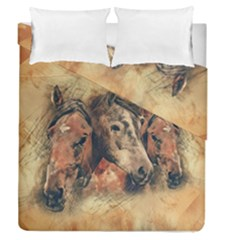 Head Horse Animal Vintage Duvet Cover Double Side (queen Size) by Simbadda