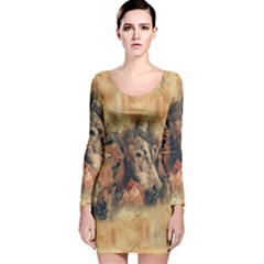 Head Horse Animal Vintage Long Sleeve Velvet Bodycon Dress