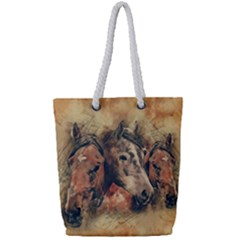 Head Horse Animal Vintage Full Print Rope Handle Tote (small)
