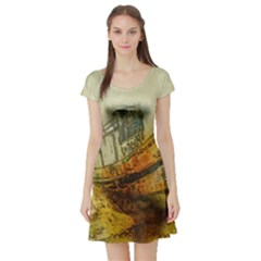 Boat Old Fisherman Mar Ocean Short Sleeve Skater Dress
