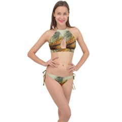 Boat Old Fisherman Mar Ocean Cross Front Halter Bikini Set