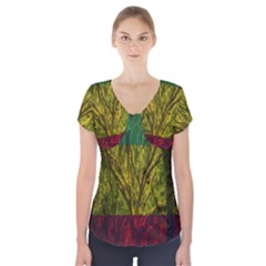 Rasta Forest Rastafari Nature Short Sleeve Front Detail Top