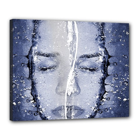 Girl Water Natural Hair Wet Bath Canvas 20  X 16  (stretched)