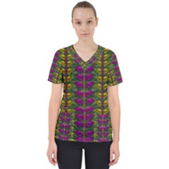 Butterfly Liana Jungle And Full Of Leaves Everywhere Women s V Neck Scrub Top by pepitasart