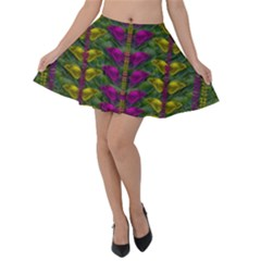 Butterfly Liana Jungle And Full Of Leaves Everywhere Velvet Skater Skirt