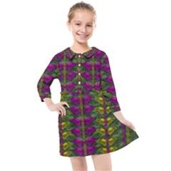 Butterfly Liana Jungle And Full Of Leaves Everywhere Kids  Quarter Sleeve Shirt Dress