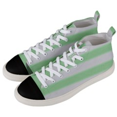 Bold Stripes Soft Green Men s Mid Top Canvas Sneakers by BrightVibesDesign