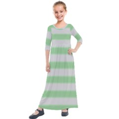 Bold Stripes Soft Green Kids  Quarter Sleeve Maxi Dress by BrightVibesDesign