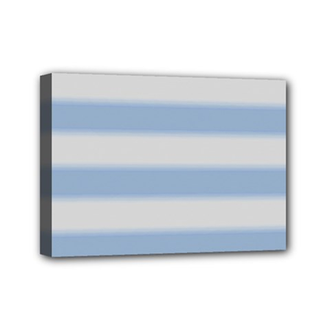 Bold Stripes Soft Blue Mini Canvas 7  X 5  (stretched) by BrightVibesDesign