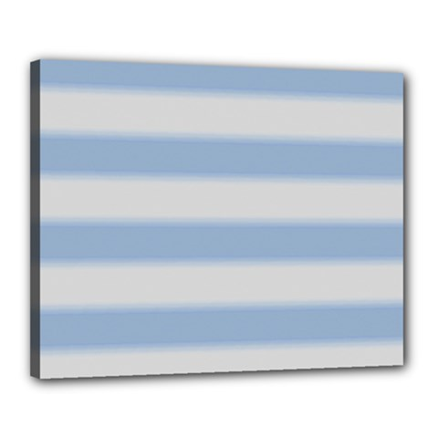 Bold Stripes Soft Blue Canvas 20  X 16  (stretched) by BrightVibesDesign