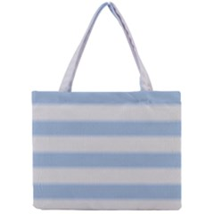 Bold Stripes Soft Blue Mini Tote Bag by BrightVibesDesign