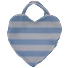 Bold Stripes Soft Blue Giant Heart Shaped Tote by BrightVibesDesign
