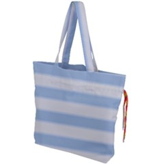 Bold Stripes Soft Blue Drawstring Tote Bag by BrightVibesDesign