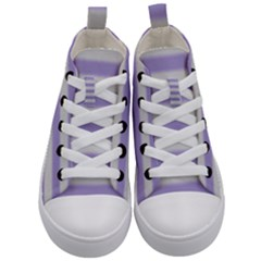 Bold Stripes Soft Purple Pattern Kid s Mid Top Canvas Sneakers