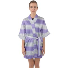 Bold Stripes Soft Purple Pattern Quarter Sleeve Kimono Robe by BrightVibesDesign